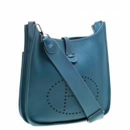 Hermes Blue Lagon Clemence Leather Evelyne III PM Bag 211478