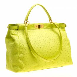 Fendi Neon Green Ostrich Large Peekaboo Top Handle Bag 150791