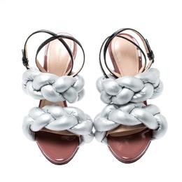 Marco De Vincenzo Metallic Silver Braided Ankle Strap Sandals Size 36.5 206992