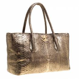 Chanel Metallic Gold Python Shopping Tote 149669