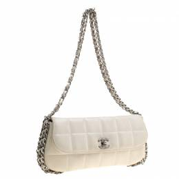 Chanel White Square Quilted Leather East West Baguette Flap Bag 133639