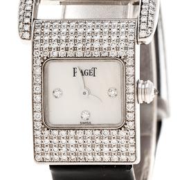 Piaget White Mother Of Pearl Diamond 18k White Gold Miss Protocol 5225 Women's Wristwatch 17MM 159763