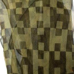 Hermes Green Radial Block H Print Silk Chiffon Losange Scarf 177283