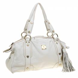 MCM White Leather Tassel Satchel 178578