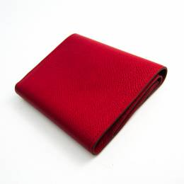 Hermes Red Courchevel Leather Bifold Wallet 181372
