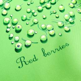 Hermes Green Printed Silk Red Berries Square Scarf 181355