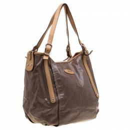 Tod's Metallic Beige Coated Canvas G-Bag Easy Sacca Grande Tote 186326