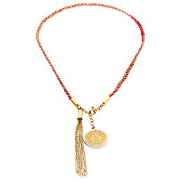 Carolina Herrera Gold Tone Braided Medallion Pendant Tassle Necklace Ch Carolina Herrera 186900