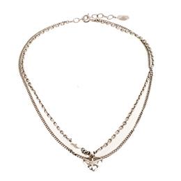 Dior Heart Silver Tone Multi Chain Pendant Necklace 206015
