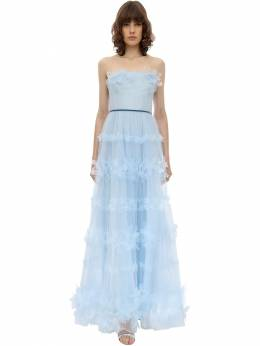 Long Flower Embellished Tulle Dress Marchesa Notte 70IWVN003-TFRCTFU1