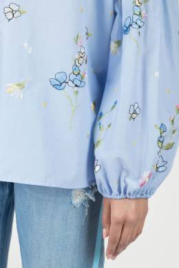 Голубая блуза с разрезом Blugirl 1916144397
