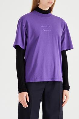 Фиолетовая футболка с логотипом Acne Studios 876144015