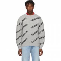 Balenciaga Grey and Black All Over Logo Sweater 555481 T1471