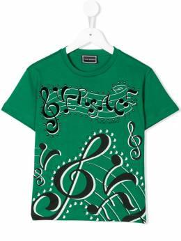 Young Versace - футболка с принтом логотипа и нотных знаков TS008YJE939930869850
