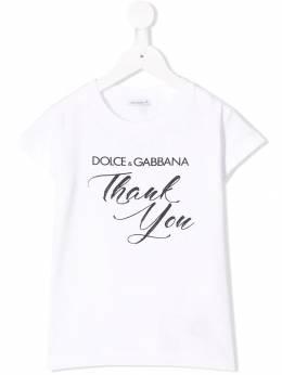Dolce & Gabbana Kids - футболка с принтом thank you TCVG3RXH938655560000