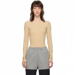 Mm6 Maison Margiela Beige Long Sleeve Bodysuit 192188F28400402GB