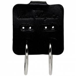 Mm6 Maison Margiela Black and Silver Single Tag Earring 192188F02200401GB