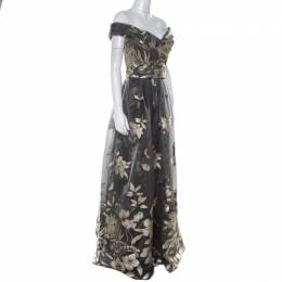 Marchesa Notte Grey Metallic Floral Fil Coupe Layered Off Shoulder Gown L 213431