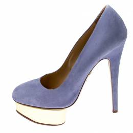 Charlotte Olympia Blue Suede Dolly Platform Pumps Size 38.5