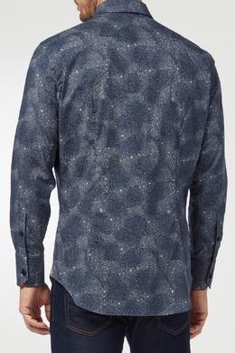 Синяя рубашка с принтом Billionaire 1668144660