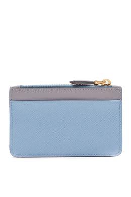 Серо-голубая кожаная визитница с клапаном Prada 40144560