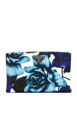 Текстильный клатч Medium Padded Nylon с принтом Prada 40144956