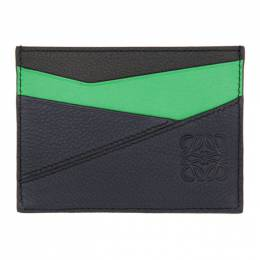 Loewe Green and Blue Puzzle Plain Card Holder 192677M16300501GB