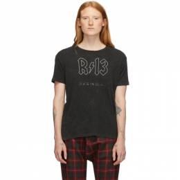 R13 Black Back In Black Logo Boy T-Shirt 192021F11000303GB