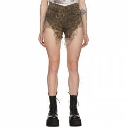 R13 Tan Shredded Slouch Shorts 192021F08800103GB