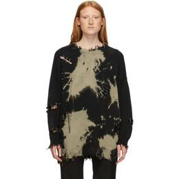R13 Black and Brown Bleach Distressed Crewneck Sweater 192021F09600102GB