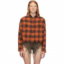 R13 Orange Cropped Work Shirt 192021F10901301GB