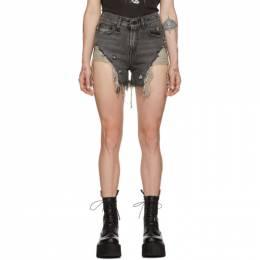 R13 Black Shredded Slouch Shorts 192021F08800703GB