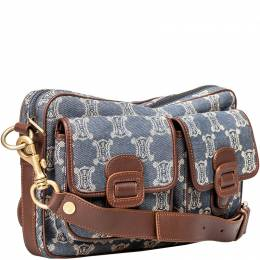 Celine Navy Blue Macadam Denim Crossbody Bag 213825