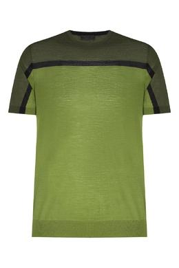 Зеленая вязаная футболка с полоской Prada 40144652