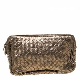 Bottega Veneta Metallic Bronze Intrecciato Zip Clutch 215140