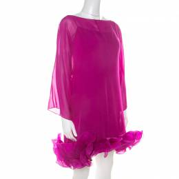 Marchesa Notte Fuschia Pink Silk Chiffon Ruffle Hem Detail Short Dress L 215652