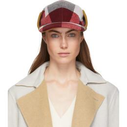 Rag&Bone Red and White Plaid Pilot Cap WJW19F1001KT01