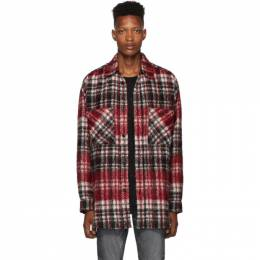 Faith Connexion Red and Black Tweed Check Shirt 192848M19200902GB