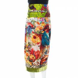 Just Cavalli Multicolor Floral Printed Silk and Velvet Accented Border Detail Belted Skirt L