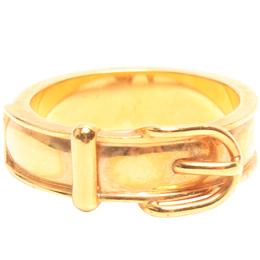 Hermes Gold Tone Metal Motif Scarf Ring 216009