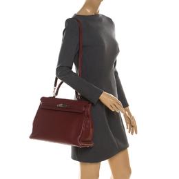 Hermes Rouge Clemence Leather Palladium Hardware Kelly Retourne 35 Bag 216453