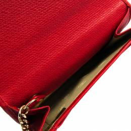 Chanel Red Calfskin Leather Coco Button Card Case 215905