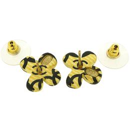 Chanel Yellow/Black Metal Coco Mark Earrings 216214