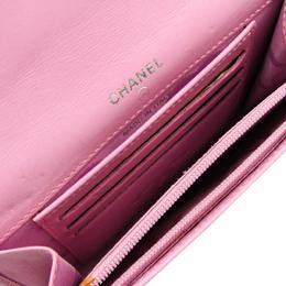 Chanel Pink/Black Calfskin Leather Ligne Cambon Middle Wallet 215887