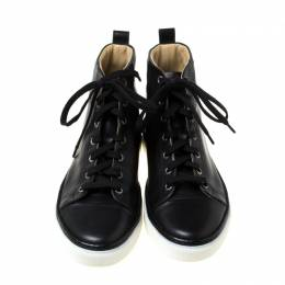 Hermes Black Leather High Top Sneakers Size 38 216037