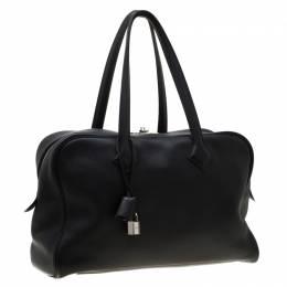 Hermes Black Leather Victoria II Fourre Tout 35 Bag 200141