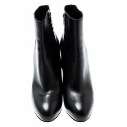 Gianvito Rossi Black Leather Platform Ankle Boots Size 39.5 200825