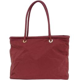 Celine Red Nylon Leather Tote Bag 216675