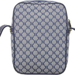 Celine Navy Blue Macadam Canvas Shoulder Bag 216762