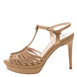 Fendi Beige Patent Leather T Bar Platform Sandals Size 38